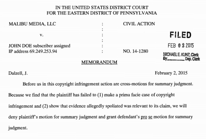 """Before us in this copyright infringement action are cross- motions for summary judgment. Because we find that the  plaintiff has failed to (1) make a prima facie case of copyright  infringement and (2) show that evidence allegedly spoliated  was relevant to its claim, we will deny plaintiff's motion for  summary judgment and grant defendant's pro se motion for  summary judgment."""