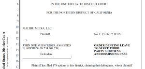 J. Alsup denies subpoenas in 3:15-cv-06075-WHA and others